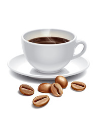 Coffee cup and roast grains