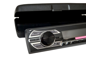 Head of a car radio system with case