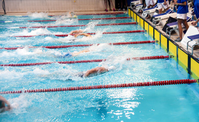 Swimming competitions in the pool.