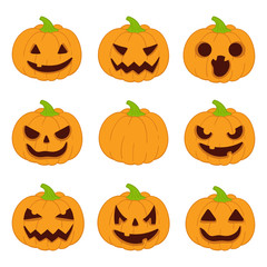 Halloween pumpkins set. Vector icons