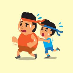 Cartoon sport man helping fat man to run