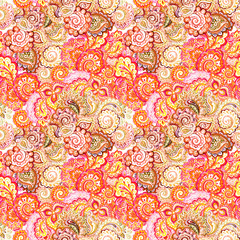 Eastern design with flowers and paisley. Seamless ornamental