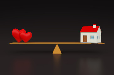 Heart with Home 3d Model
