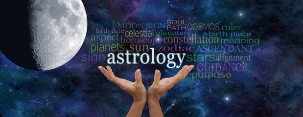 It is written in the Stars - Astrology Banner - deep space dark blue background with a large moon on left and a pair of female hands reaching up to the word ASTROLOGY surrounded by a word cloud