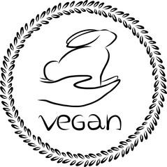 Vector vegan logo. Vegan badge. Vector rabbit outline. Vegan icon design. Go vegan design. Ethical logo. Green logo. Kind hands design. Good hand to animals. Template for vegan design.