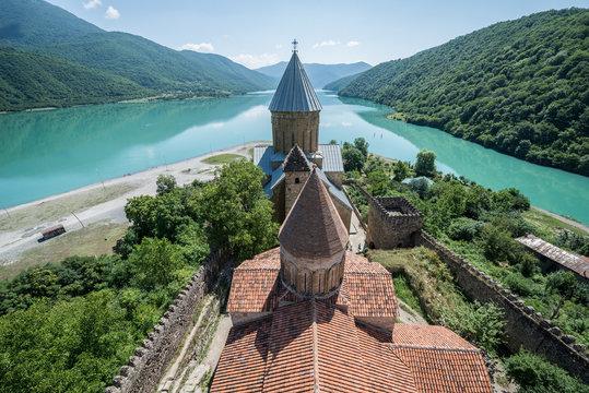 Medieval Ananuri Castle over Aragvi River in Georgia