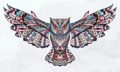 Foto op Plexiglas Uilen cartoon Patterned owl on the grunge watercolor background. African / indian / totem / tattoo design. It may be used for design of a t-shirt, bag, postcard, a poster and so on.