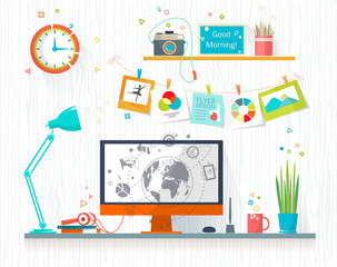 Work place of designer-illustrator. Creative office workspace. Art-working process.  Flat design vector illustration