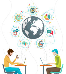 Global business concept. Communication in the global networks. Multitasking in business. Long-distance administration and management. Concept of social media network.  Vector illustration.