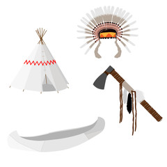 Native american set white
