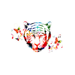 Colorful tiger head close up