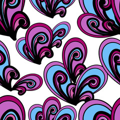 Seamless vector summer pattern. Bright hand drawn background. Ab