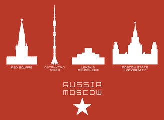 Russia Moscow city shape silhouette icon set -Red Square