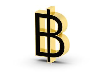 Golden black 3D Baht currency symbol
