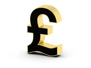 Golden black 3D pound currency