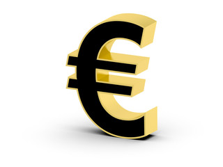 Golden black 3D Euro symbol