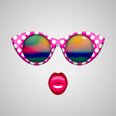 Vintage sunglasses and kissing lips