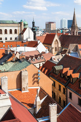 above view of houses in old city of Bratislava