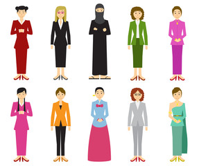 Set of cute woman with traditional dress in flat style