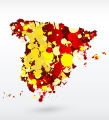 Spain vector map with abstract blots