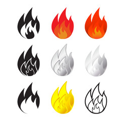Fire and flames icon in many style