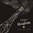 Merry christmas happy new year deco bottle outline