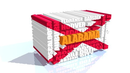 alabama state cities list textured by flag