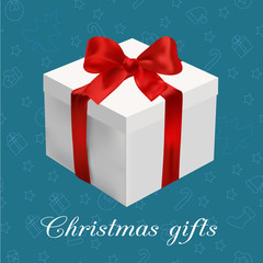 Greeting card - white box with red bow on the blue  christmas background