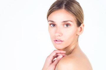Portrait of a beautiful woman with clean and smooth skin. Spa & Beauty.