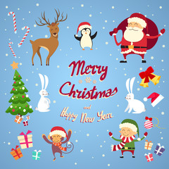 Santa Clause Christmas Elf Cartoon Character Set Collection
