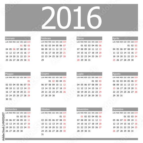 Italia Calendario.Calendario 2016 Italia Grigio Stock Image And Royalty Free