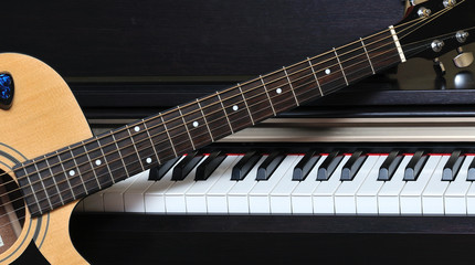 Piano key and guitar.