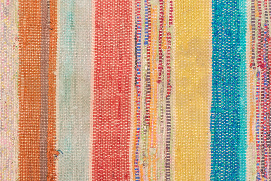 Multi Colored rustic rug. Folk nation creativity. Rustic style.