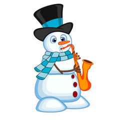 Snowman wearing a hat and a blue scarf playing saxophone for your design vector illustration