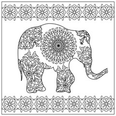 Elephant zentangle coloring page