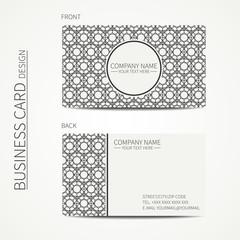 Geometric lattice monochrome business card template for your
