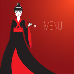 Oriantal femme fatale in a long black kimono with a traditional Japanese makeup eating sushi.