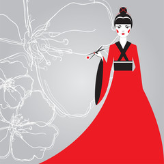 Beautiful Japanese woman in a red kimono holding sushi with chopsticks on a background linear cherry blossoms.
