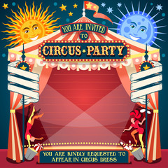 Circus Show Retro Template Party Invite. Cartoon Poster Invitation Kid Birthday Party. Carnival Festival Theme Background Acrobatics Cabaret Vintage vector. Acrobat Clown Strip Card Game Illustration.