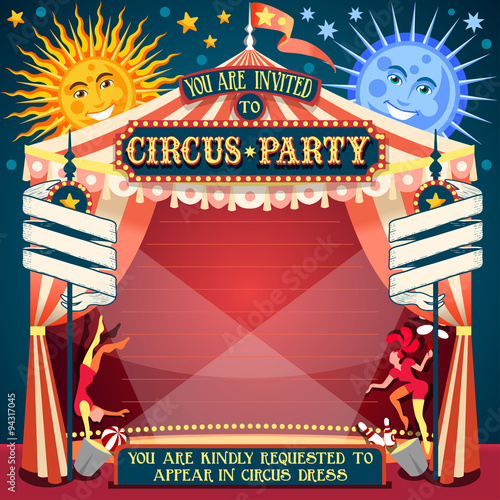 Circus Show Retro Template Party Invite. Cartoon Poster Invitation