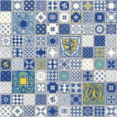 Indigo Blue Lisbon Paint Tile Floor Oriental Spain Ornament Collection Seamless Patchwork Pattern Colorful Azulejo Portugal Ceramic Azulejos Vintage Illustration background Vector Pattern Brocade