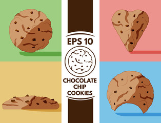 Flat chocolate chip cookies collection eps10