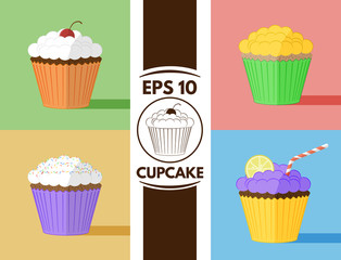 Flat cupcakes collection eps10