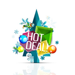 Hot deal sale promotion tags, badges for Christmas and New Year