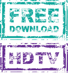 Grunge Free Download Stamp and HDTV stamp Vector
