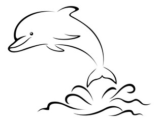 Dolphin and Sea Waves, Contour