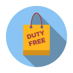 Duty-free bag colored flat icon