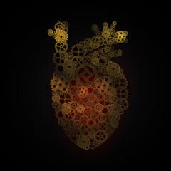 Human heart , gears arrangement  shape of  Human heart