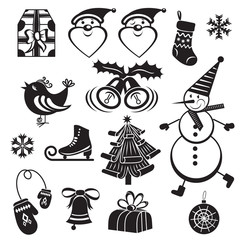 Merry Christmas monochrome illustrations set