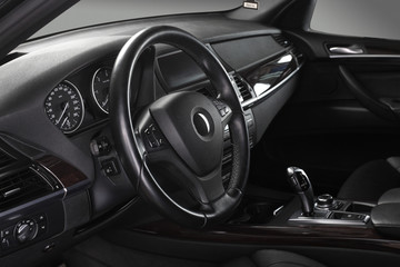 Car interior. Steering wheel